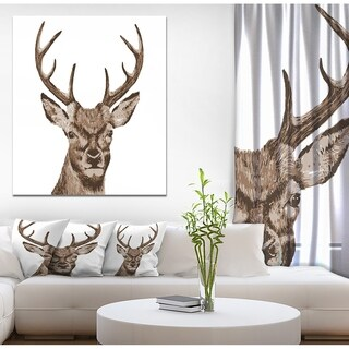 Designart 'Deer Head' Animals Painting Print on Wrapped Canvas