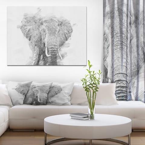 Designart 'Black and White Elephant Sketch' Animals Print on Wrapped Canvas