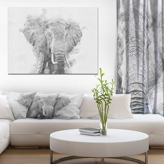 Designart 'Black and White Elephant Sketch' Animals Painting Print on Wrapped Canvas