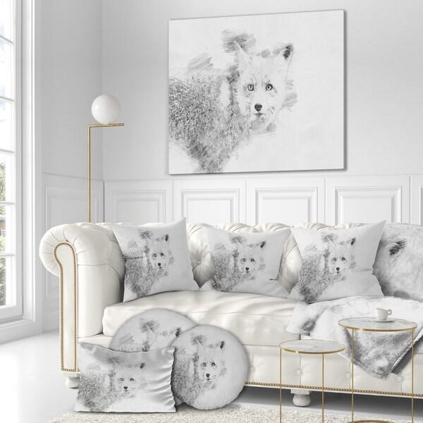Shop Designart 'Black and White Fox Sketch' Animals ...
