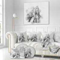 Designart 'Elephant in Black And White Pencil Sketch' Sketch Animals Painting Print on Wrapped Canvas - Grey