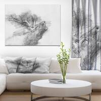 Designart 'Black and White Deer Pencil Sketch' Animals Painting Print on Wrapped Canvas