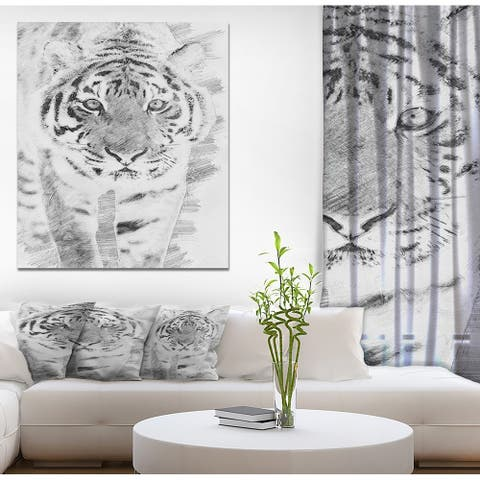 Designart 'Black and White Tiger Sketch' Animals Print on Wrapped Canvas