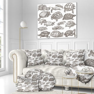 Designart 'Turtles in Freehand sketching' Sketch of Nautical Animals of Painting Print on Wrapped Canvas