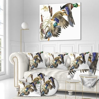 Designart 'Three Flying Ducks in Colored illustration' Farmhouse Animal Painting Print on Wrapped Canvas - White