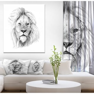 Designart 'Pencil Lion Sketch in Black and White' Animals Painting Print on Wrapped Canvas - White
