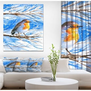 Designart 'Robin in winter' Animals Painting Print on Wrapped Canvas - Blue