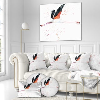 Designart 'Watercolor pink flamingo' Animals Painting Print on Wrapped Canvas - White (4 options available)