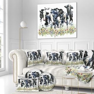 Designart 'Dairy cow on field' Farmhouse Animal Painting Print on Wrapped Canvas - White