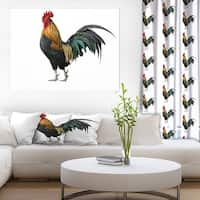 Designart ' chicken rooster' Farmhouse Animals of Painting Print on Wrapped Canvas