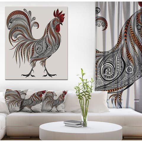 Designart 'New year 2017 Colorful Rooseter' Farmhouse Animals of Painting Print on Wrapped Canvas