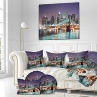 Designart 'New York City Manhattan Skyline' Cityscapes Photography on Wrapped Canvas - Purple