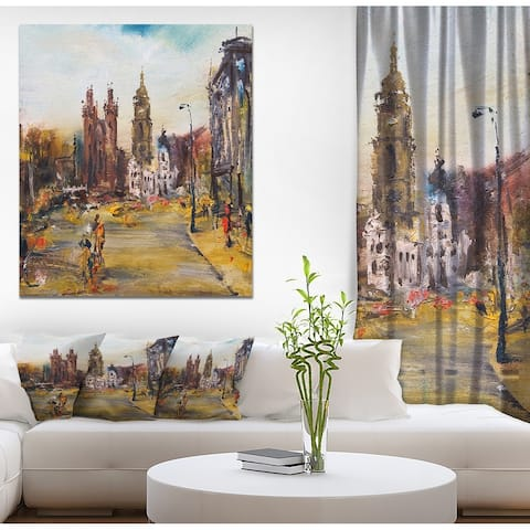 Designart 'Hhistoric square with church ' Cityscapes Print on Wrapped Canvas - Brown