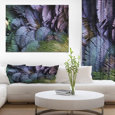 Designart 'Pheasant feathers' Animals Print on Wrapped Canvas - Purple