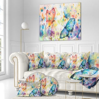 Designart 'Colorful Butterflies' Animals Painting Print on Wrapped Canvas - White