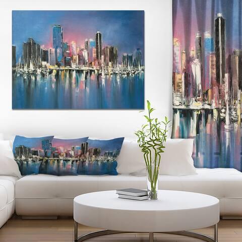Designart 'Coastal City Fantasy Night Scene in ' Cityscapes Print on Wrapped Canvas - Blue