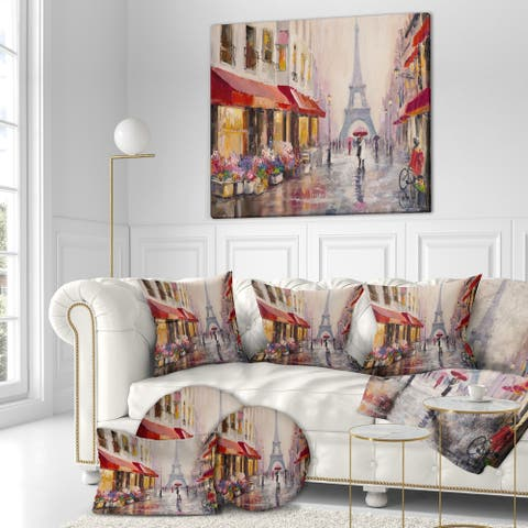 Designart 'Lovers in Paris Eiffel Tower' Cityscapes Painting Print on Wrapped Canvas - Brown