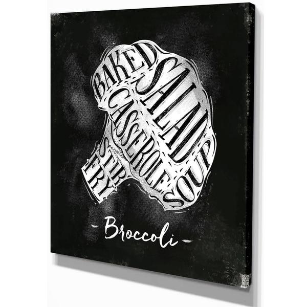 b9b3c5517 Designart 'Broccoli cutting scheme chalk' Farmhouse Food Painting  Print