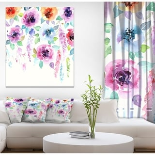 Designart 'Pastel Watercolor Flower' Floral Painting Print on Wrapped Canvas on Wrapped Canvas - White
