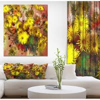 Designart 'Bouquet Yellow Peonies' Floral Painting Print on Wrapped Canvas on Wrapped Canvas