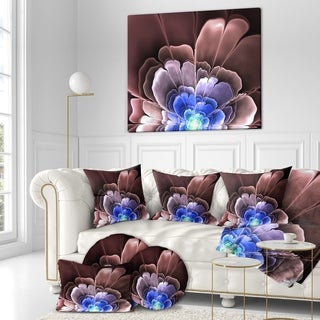 Designart 'Abstract flower fractal pattern' Art on wrapped Canvas - Brown