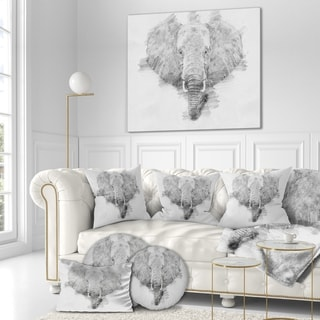 Designart 'Elephant in Pencil Sketch' Sketch Animals Painting Print on Wrapped Canvas - Grey
