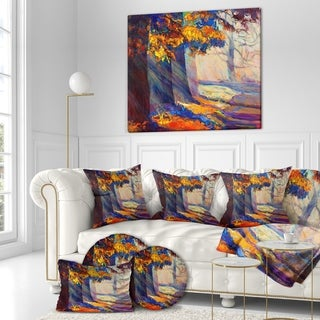 Designart 'Beautiful Sunset in Autumn Forest' Floral Painting Print on Wrapped Canvas - Orange