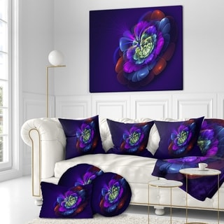Designart 'Colorful Abstract fractal flower' Art on wrapped Canvas - Purple