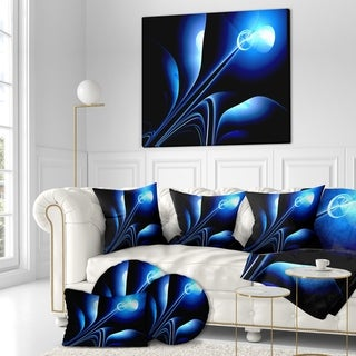 Designart 'Flower in electric Blue' Floral Contemporary Art on wrapped Canvas - Blue