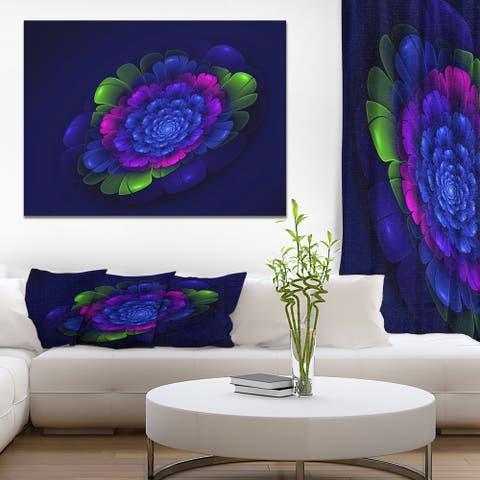Designart 'Fractal Summer Abstract flower' Art on wrapped Canvas - Purple