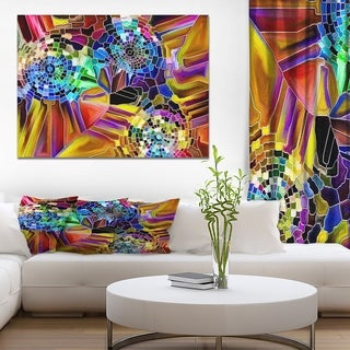 Designart 'Color Fragmentation Series' Floral Painting Print on Wrapped Canvas - Multi-color