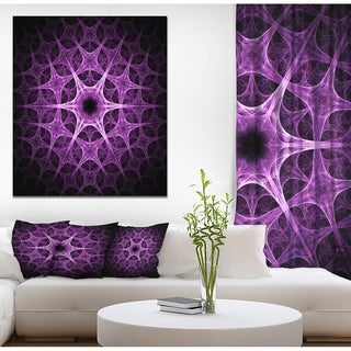 Designart 'Abstract purple thorn flower' Art on wrapped Canvas - Black