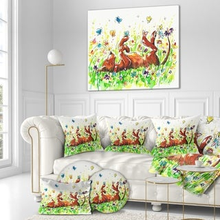 Designart 'Happy Brown dog with Flowers and Butterfly' Animals Painting Print on Wrapped Canvas