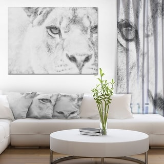 Designart 'Black and White Lion Pencil Sketch' Animals Painting Print on Wrapped Canvas