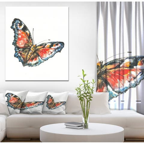 Designart 'Colorful Butterfly' Animals Print on Wrapped Canvas - White