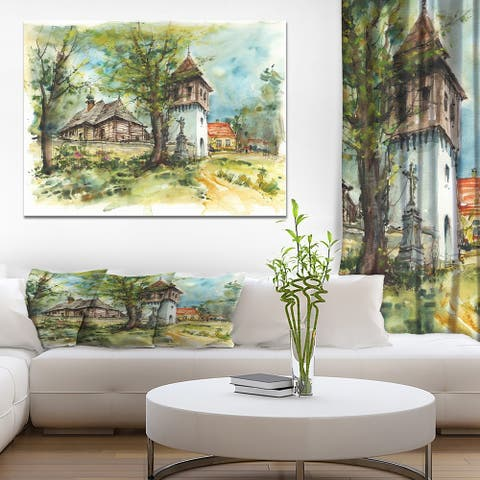 Designart 'Wooden church and bell tower' Cityscapes Print on Wrapped Canvas - Green