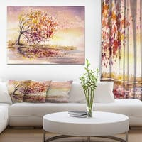 Designart ' Autumn Tree' Floral Painting Print on Wrapped Canvas - Brown