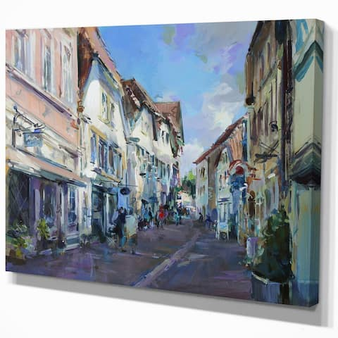 Designart 'Old town landscape ' Cityscapes Photography on Wrapped Canvas - Blue