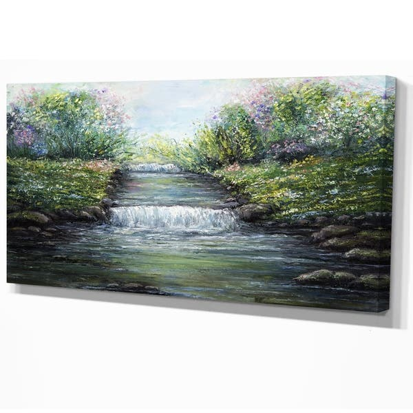Designart River In The Mountain Floral Print On Wrapped Canvas Green Overstock 21276602