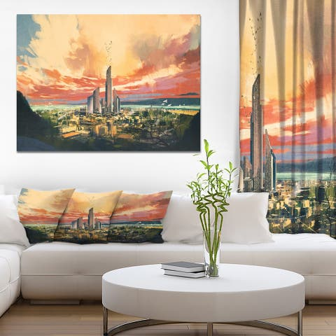 Designart 'Sunset Futuristic scifi city with Skyscrapper' Cityscapes Print on Wrapped Canvas - Brown