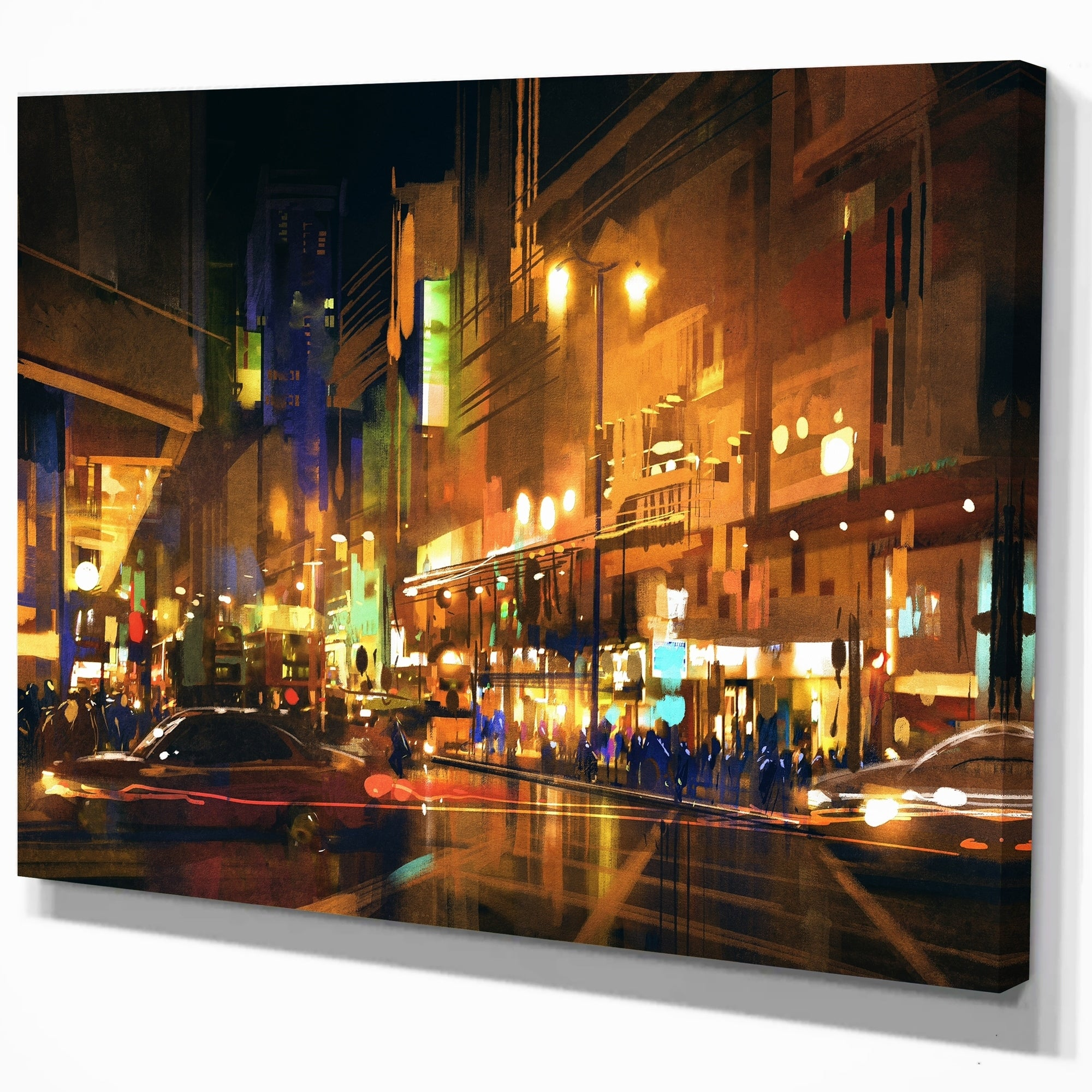 Designart City Street At Night With Colorful Lights Cityscapes Print On Wrapped Canvas Brown Overstock 21276657