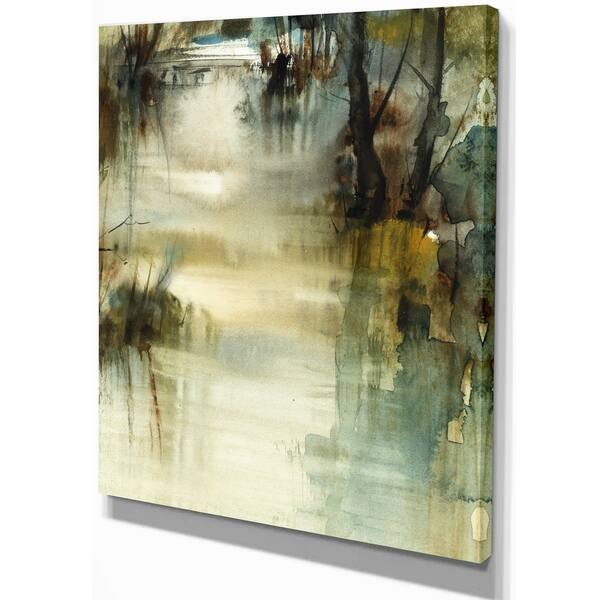 Designart Water Level On The River Landscapes Painting Print On Wrapped Canvas White Overstock 21276658