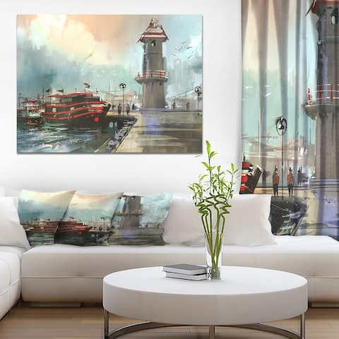 Designart 'Fishing boat in harbor' Cityscapes Print on Wrapped Canvas - Blue