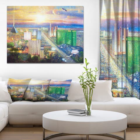 Designart ' Colorful Sunset in Las Vegas' Cityscapes Print on Wrapped Canvas - Blue