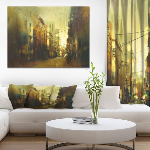 Designart 'Vintage City street at night' Cityscapes Print on Wrapped Canvas - Brown