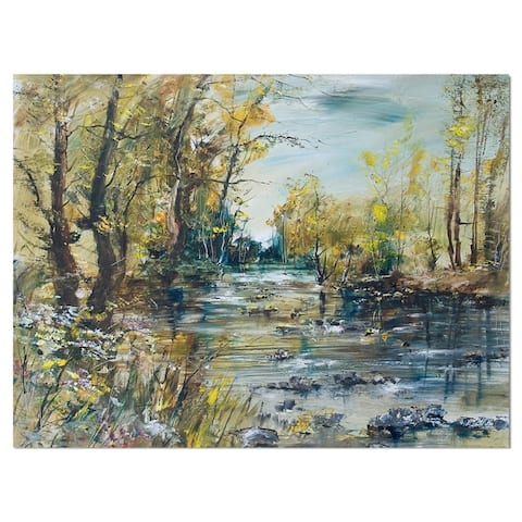 Designart 'Rocky River in the Forest' Landscapes Print on Wrapped Canvas - Blue
