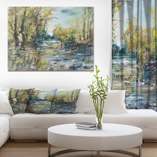 Designart 'Rocky River in the Forest' Landscapes Painting Print on Wrapped Canvas - Blue