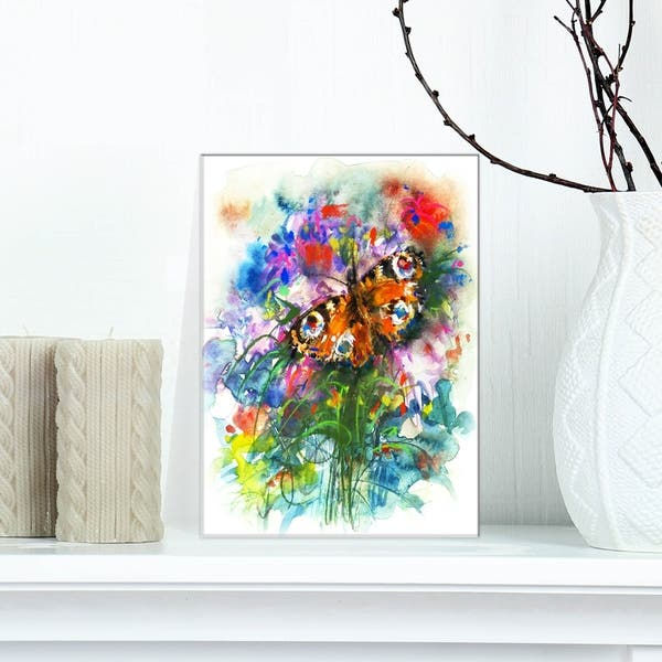 Designart Butterfly Peacock Floral Print On Wrapped Canvas White Overstock 21276738