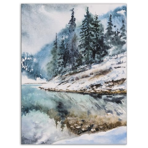 Designart 'Mountain Hill Reflected in Water' Landscapes Print on Wrapped Canvas - White