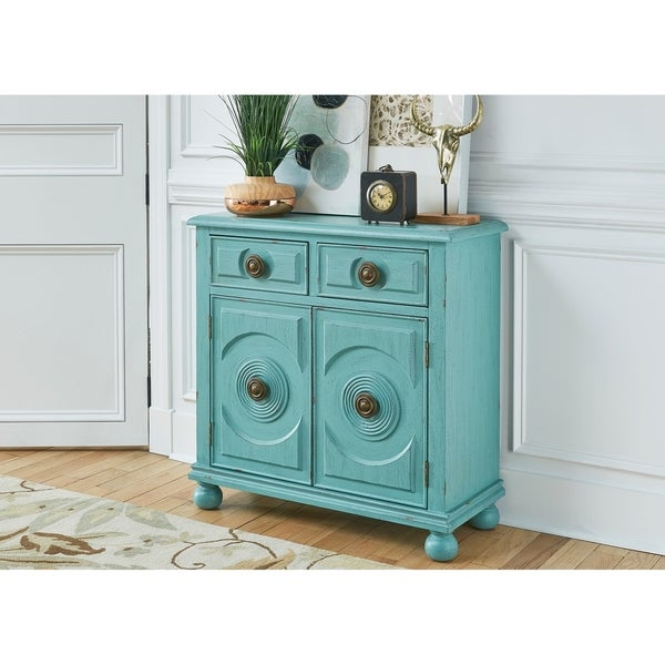 Monica Antique Turquoise 2 Drawer And Door Accent Cabinet